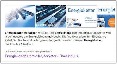 Anbieterverzeichnis für Energieketten Google Ergebnis