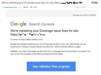 Beispiel eines Reportes via E-Mail bei dem GSC einen Widerspruch zwischen indexierter Seite und robots.txt anmeckert