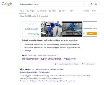 Featured Snippet bei Google für Industrieroboter Typen