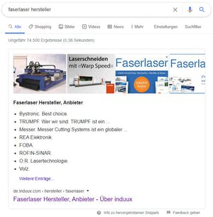 Featured Snippet bei Google für Hersteller Faserlaser mit Branding
