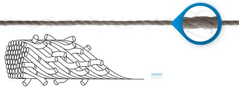 Schematische Darstellung eines Umspinnzwirns von Amann Group