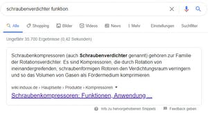 Text Snippet bei Google für Schraubenverdichter Funktion