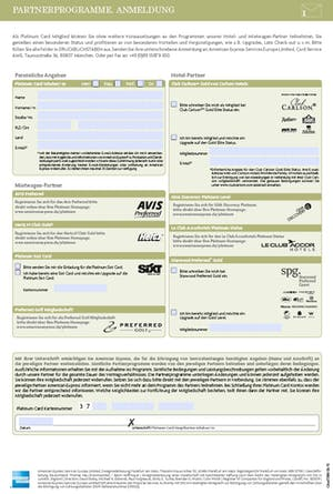 AMEX Partnerkarten Antrag