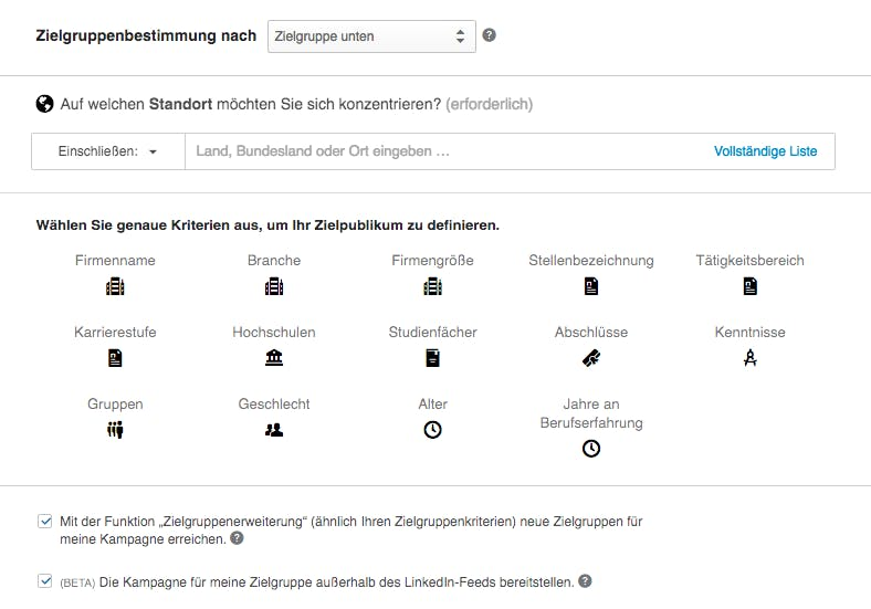 Targeting-Optionen LinkedIn, Screenshot aus Kampagnen Manager