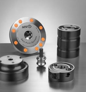 Das AMF-Nullpunktspannsystem zeichnet sich durch hohe Einzugs- und Haltekräfte sowie eine Wiederholgenauigkeit von unter 5 µm aus.
