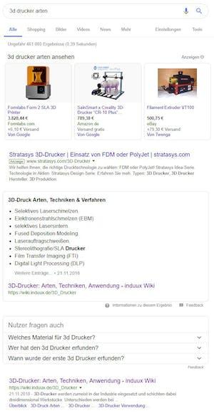 featuredsnippet 3d Drucker arten