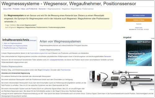 Beispiel Wiki-Seite Wegmesssysteme